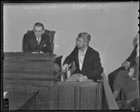 Murder suspect Fred Stettler and coroner Frank Monfort, Los Angeles, 1936