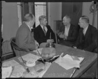 Suspects Fred Stettler and Emyt Lentz (Sokolis) confront each other in the presence of Captain Bert Wallis and Det. Lt. Miles Ledbetter, Los Angeles, 1936