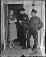 Virginia Bruce Gilbert and Officers O'Louis and Glavey, Los Angeles, 1936