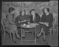 Spinsters Patricia Mines, Janet MacLeod, Daisy Parsons, and Emelie Childs at the Ambassador Hotel, Los Angeles, 1936