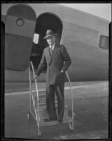 Advertising executive and author Bruce Barton lands in Los Angeles, 1936