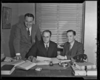 Attorneys John C. Packard and James M. Carter with miner John Langan, Los Angeles, 1936