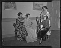 Friday Morning Club Juniors members primp in preparation for a dinner-dance, 1936