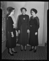 Isabelle Schneiders, Lucille Schneiders, and Genevieve Manning, members of the Young Ladies' Institute, 1936