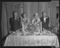 Robert Mackay and his bride, Lucille Logue, with bridesmaid, June Logue and best man, Robert Battersby, Los Angeles, 1936