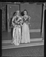 Bride, Lucille Logue with her sister and bridesmaid, June Logue, Los Angeles, 1936