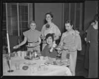 Flora Glaser, Mrs. Norman Neill, Mrs. Arthur Bowen, and Edna Percy at a tea for the Los Angeles County Medical Association, 1936