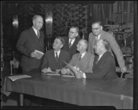 A.C. Roberts, T.W. McQuarrie, Frank W. Thomas, Vierling Kersey, Walter R. Hepner, and Arthur S. Gist meet at an educational conference, Los Angeles, 1936