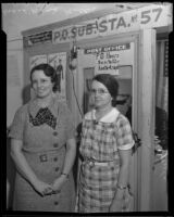 Mrs. May W. Steele and Mrs. L'Marie Minter, victims of post office robbery, Los Angeles, 1936