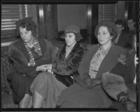 Rose Pickerel, Jean Peirce, and Sally Florian await for Officer Peirce's verdict, Los Angeles, 1935