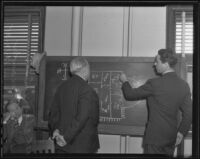 Ross Alexander draws on a blackboard as he is watched by Charles Ostrom, Los Angeles, 1935