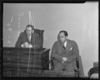 Judge Frank Monfort and Vernon D. Wood on the witness stand, Los Angeles, 1935
