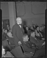 Judge Frank Lowe speaks during a safety aid meeting, Los Angeles, 1935