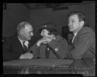Frances Mabel Willys discusses her trail with her lawyers, Torrance C Welch and Paul Palmer, Los Angeles, 1936