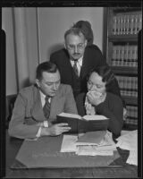 Accused murderer Frances Mabel Willys with attorneys Torrance C. Welch and Paul Palmer, Los Angeles, 1935