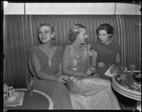 Daisy Parsons, Nancy Shmoele, and Lillian Whittier at the intermission at the Las Madrinas Ball, Los Angeles, 1935