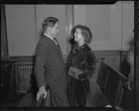 Actress Madge Bellamy and Attorney Jack Irwin at court, Los Angeles, 1935