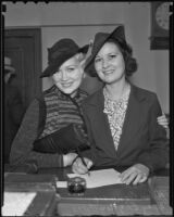 Actress Mary Conway filing a notice of her intent to marry actor Francis Ford, Los Angeles, 1935