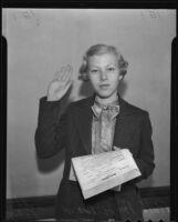 Twenty-one-year-old lawyer Ruth August Bard, Los Angeles, 1935