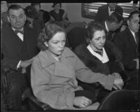 Opal Belville and Rose Stewart at the inquest of Charles Layman, Los Angeles, 1935