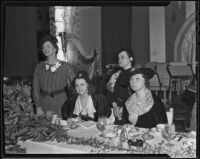 Hollywood Opera Reading Club event with Mrs. George Hunter, Marion Talley, Lena Gastoni, and Ethelyn Endelman, 1935