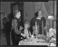 Stella Beal, Carrie Belle Laemmle, and Elsa North, who were hostesses of a benefit hosted by the Los Angeles Artists' Foundation, 1935