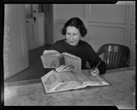 Bernice McCarty assists with the new city directory, Los Angeles, 1936