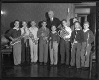 Harry Chandler with Arch Freebairn, Richard Behm, Melvin Kaplan, Lloyd Miller, Hugh Freebarin, Jack Raith, Bill Sorensen, David Reese and Jimmy Crasper, Los Angeles, 1935