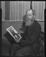 A. H. Allen with magazine cover featuring himself as Santa Claus, Los Angeles, 1935