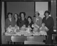 Babies receive health screening for movie auditions, Los Angeles, 1935