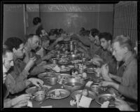 Prisoners at Central Jail eat Christmas dinner, Los Angeles, 1935