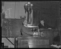 Charles C. Irwin key witness in S. W. Strauss bond crash case, Los Angeles, 1935