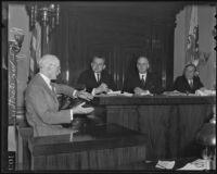 Robert J. McCarthy testifies during S. W. Strauss + Co. bond trial, Los Angeles, 1935