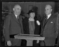 Dr. Ben M. Cherrington, Gertrude H. Rounsavelle and Frank A. Bouelle, Los Angeles, 1935
