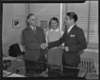 President Oliver Scott Thompson with Compton Junior College students Fred Miller and Maxine Murray, Compton, 1935