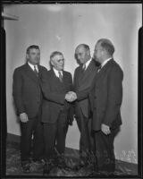 Los Angeles County Fair officials C.B. Afflerbaugh, L.E. Sheets, Clyde E. Houston, and Thompson Webb, Pomona, 1935