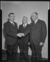 Los Angeles County Fair officials C. B. Afflerbaugh, L. E. Sheets, and Clyde Earl Houston, Pomona, 1935