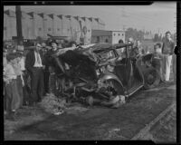 Train crashes into automobile, killing man and his dog, Glendale, 1935