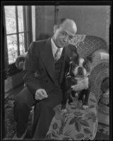 Paraguayan Consul Henry A. Dae-English and a dog, Los Angeles, 1935