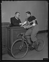 Judge Newcomb Condee admonishes bicycle rider Eddie Testa, Los Angeles, 1935