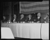 Governor Frank Merriam, Former President Herbert Hoover, and Lou Henry Hoover enjoy dinner with the Iowa Association of Southern California, Los Angeles, 1935