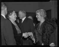 Herbert Hoover and Lou Henry Hoover at Iowa Association of Southern California Banquet, Los Angeles, 1935