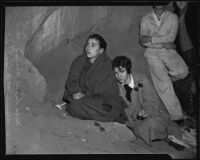 Mrs. Lowell Harmer and Mrs. John Becker at the cave-in site, Elysian Park, Los Angeles, 1935