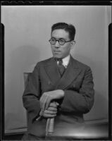 Shomosuke Takeuchi, representative of Kenegafuchi textiles, on a business trip, Los Angeles, 1935