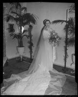 Stanford senior Margaret Joy on her wedding day, Bel Air, 1935