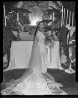 Stanford senior Margaret Joy on her wedding day, Bel Air, 1935