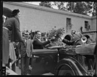 President Franklin D. Roosevelt greeted at California Pacific International Exhibition, San Diego, 1935