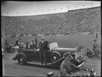 President Franklin D. Roosevelt greets crowd at Memorial Coliseum, Los Angeles, 1935