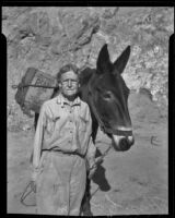Mrs. W. B. Corum and her pack mule on Sturtevant Trail, Sierra Madre, 1935