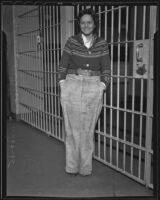 Unemployed 21-year old Doreene Peterson was arrested for evading train fares, Los Angeles, 1935